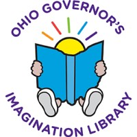 Ohio Governor's Imagination Library logo of a kid reading a book