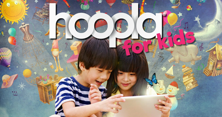 Graphic of two kids using a mobile device with Hoopla for Kids overlayed